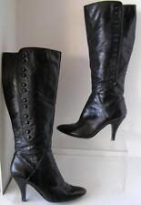Nine West Black Calf Leather Boots Stileto Heel with Shoe Button sides size 8 M