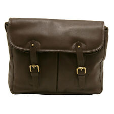 PELLMELL - SMALL BROWN GAME MESSENGER BAG IN LEATHER