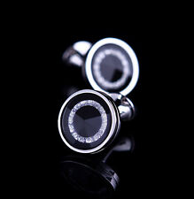 Black Round Crystal Cufflinks Men Dress Shirt Suit Cuff links Wedding Gift