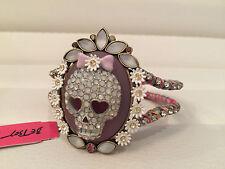 NWT Rare Betsey Johnson Girlie Grunge Skull bow Fabric Hinge Bracelet w/ flowers