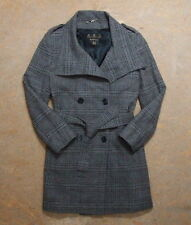 Women's Barbour Double Breasted Wool Checked Coat Size 12 Genuine Rare