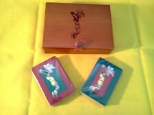 Vintage Wooden Box w/2 Decks of Playing Cards Basketball Player Sports unopened