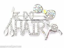 I Do Hair Brooch Stylist Groomers Scissor Women Pin New