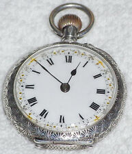 EDWARDIAN SOLID SILVER 925 LADIES POCKET WATCH 1915