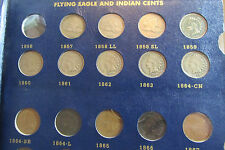 Flying Eagle and Indian Head Cent Collection - Lacks 3 Coins - Whitman Album #B