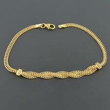 10K YELLOW GOLD 2.8MM WIDE FANCY BRAIDED DOUBLE CURB LINK BRACELE  FREE SHIPPING