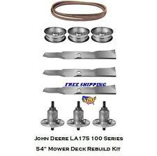 """54"""" Mower Deck Rebuild Kit Fits John Deere LA175 100 Series Blades Spindles 130"""