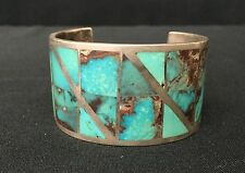 Cuff Bracelet * Native American Indian *Pawn * Sterling & Turquoise -Bisbee?