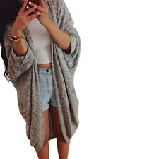 Womens Lady Casual Knit Sleeve Sweater Coat Cardigan Jacket XL