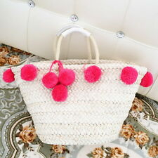 Women Summer Straw Weave Beach Tote Shoulder Bag Handbag Fur Balls Pendant #GH