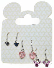 AUTHENTIC DISNEY MICKEY MOUSE HEAD and HEART FISH HOOK PIERCED EARRINGS 3 PAIR