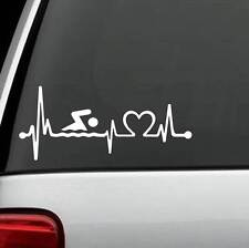 K1089 Swimming Heartbeat Lifeline Decal Sticker Swimmer Diving Pool Car Suv Van