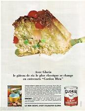 PUBLICITE ADVERTISING 105  1965  GLORIA   lait concentré gateau au riz