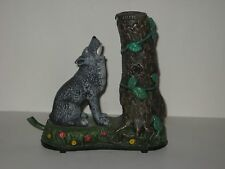 Authentic Cast Iron Collectible Wolf & Squirrel Mechanical Metal Coin Bank
