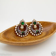 VINTAGE FASHION BOLLYWOOD DESIGNER BRIDAL EARRINGS  POLKI   reg $55 USA seller