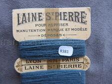 R381 Mercerie ancienne carte fil 5 bobines LAINE SAINT PIERRE bleu Lyon Paris
