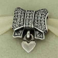 Authentic Pandora 791776CZ Heart & Bow Clear CZ Sterling Christmas Bead Charm
