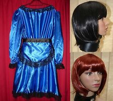 Lolly Maid new heavy shiny satin sissy maids dress TV underskirts ADORE & wig