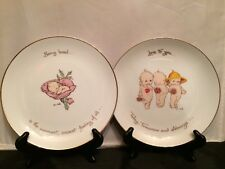 Set of 2 Authentic Kewpie Rose O'Neill Design Plates: Being Loved, Love to you..