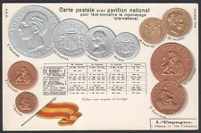 COINS & NATIONAL FLAG of SPAIN - MONNAYAGE PAVILLON ESPAGNE Postcard EMBOSSED