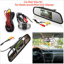 "Car Rear View Mirror 4.3"" Monitor + IR Backup Camera For Honda Accord Pilot Kit"