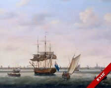 BRITISH FRIGATE AT ANCHOR IN YARMOUTH NORFOLK PAINTING ART REAL CANVAS PRINT