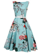 US Vintage Womens 50s Retro Floral Rockabilly Pinup Housewife Party Swing Dress