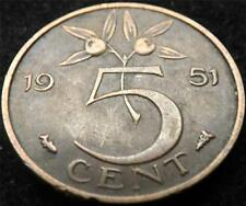 1951 NETHERLANDS 5 CENTS COIN