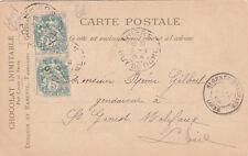 CAMBRAI verso publicité chocolat Duroyon et Ramette timbrée 1904