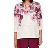 Alfred Dunner shirt size Medium M , Pink and Gray Flowers  mesh  w/liner NWT