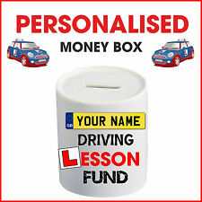 Personalised Driving Lesson Test Money Box piggy bank saving any name Car Fund