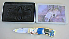 Collectible Stainlesss Steel China Lock Blade Folding Knife w/  decorative tin