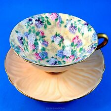 Oleander Shape Peach with Summer Glory Chintz Shelley Tea Cup and Saucer Set