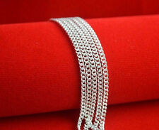 5PCS Wholesale 16inch Fashion Jewelry Lot 60% Silver Flat Curb Chain Necklaces