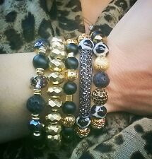 BLACK GRAY GEMSTONE PAVE BALL GOLD BAR BEAD BRACELETS JEWELRY LEOPARD BLING GIFT