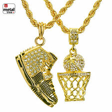"Hip Hop Basketball Hoop & Shoe Pendant 22"" & 26"" Rope Chain Combo MHC 37 G"