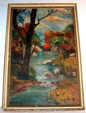 Antique Oil Impressionist LANDSCAPE Painting  Forest Stream Autumn Colors