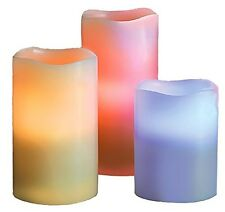 Essentially Yours Real Wax Electric Flameless Candle Pillars, Multicolor