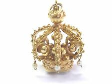 "18Kt Citrine & Pearl Yellow Gold Crown Pendant 1.5"" 15.00CT"