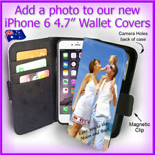 "Personalised PHOTO Apple iPhone 6 4.7"" Wallet Flip case PICTURE cover Logo"