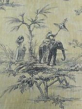 Designer Curtain Fabric 'Elephant Toile' Yellow 3.7 METRE (370CM) Chinoiserie