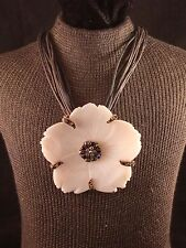 """R"" 12 Strand Black & Brown Waxed Cord Necklace & Shell Flower Pendant"