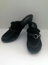 """COACH """"REGINA"""" Italy Black Suede Wooden Clasp Mules Clog Heel Shoes 9.5 B Med 1"""