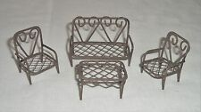 Miniature Dollhouse Fairy Garden PATIO FURNITURE Set Metal Wire Chair Settee