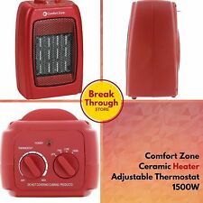 Comfort Zone Ceramic Space Heater Adjustable Portable Compact Thermostat 1500 W