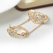Gold Heart Double Finger Knuckle Crystal Midi Above knuckle Ring Love Jewelry