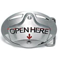 BBU1825 OPEN HERE CAN TAB BOTTLE OPENER ARROW DRINKS BEVERAGE ALLOY BELT BUCKLE