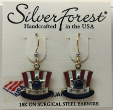 Silver Forest Beautiful Red White & Blue Uncle Sam Top Hat Quartz Hook Earrings