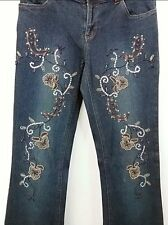 Willi Smith Sequin Beaded Denim Boho Blue Jeans Earthtone Embellished Size 4