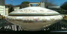 Antique  Porcelain Serving Bowl Pink Flowers Gold Trim Limoges TV GorgeousPiece